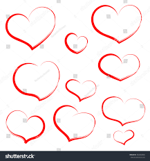 set hand draw heart red outline stock vector 364462826 shutterstock