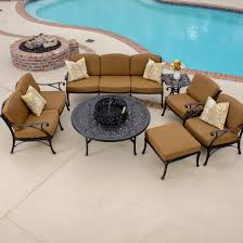 Patio Set With Firepit Table by Heritage 7 Piece Cast Aluminum Patio Fire Pit Seating Set By