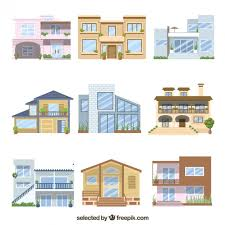 two house two floor house set vector free