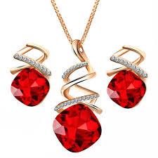 zircon crystal necklace images Women pendant necklace earrings set austrian water drop zircon jpg