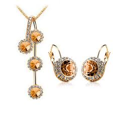 round crystal necklace images 5 colour fashion woman jewelry sets of rhinestone gold color jpg