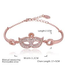 rose gold plated bracelet images Alloy crystal mask women trendy rose gold plated singapore chain jpeg