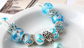 glass bead bracelet charms images Fashion diy silver plated bracelet european crystal blue murano jpg