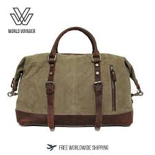 travel bags for men images Vintage military canvas crazy horse men travel bags carry on jpg