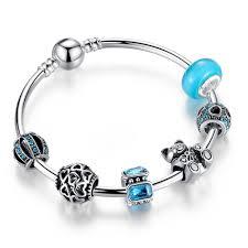 silver plated charm bracelet images Blue color charm bracelet with bear charms and silver plated jpg