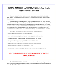 kubota zg20 zg23 lawn mower service repair manual pdf download by