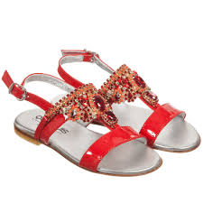 quis girls red patent leather u0026 jewel sandals childrensalon