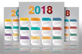5 calendar 2018 vector template eps psd design bundles