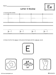 say and trace short letter e beginning sound words worksheet