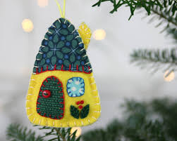 felt ornaments colorful house ornaments puffin patchwork