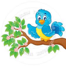 cartoon bird on branch by clairev toon vectors eps 40307