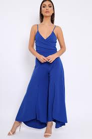 royal blue jumpsuit blue split flared jumpsuit francisca