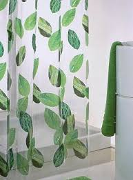 Transparent Shower Curtain Bath Transparent Shower Curtain With Green Leaves Accents