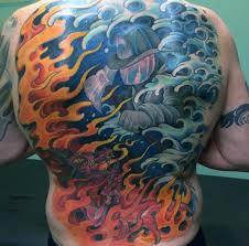 collection of 25 burning firefighter skull on back shoulder