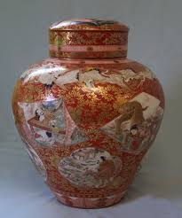 Japanese Kutani Vases 8410 Japanese Kutani Porcelain Dry Tea Storage Jar C 1880 For Sale