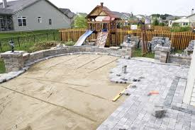 Sand For Patio Pavers by Paving Patio On To Levelled Sand Baxkyard Project Stock Photo