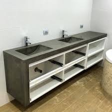 polished concrete u0027his and hers u0027 vanity top with double integrated