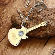 stainless steel guitar necklace images Music guitar necklace pendant with cz stone artistic pod jpg
