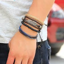 leather leaf bracelet images Punk 4pcs set leaf strand leather bracelets for women boho beads jpg
