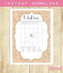 instant download confetti baby shower bingo game pink gold