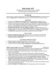 sample qa test technician resume engineering technician resume