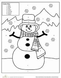 snowman color by number from learning snowman early
