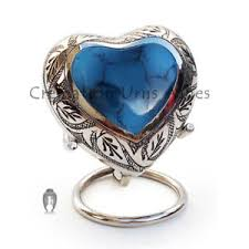 urn for human ashes memorial leaf urns mystic blue mini heart keepsake urn for human