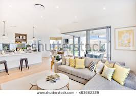 Glass Living Room Furniture Luxury House Interior Focusing Living Room Stock Photo 463662329