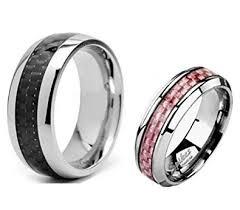 carbon fiber wedding band 2 pc his hers titanium carbon fiber wedding band ring set sizes