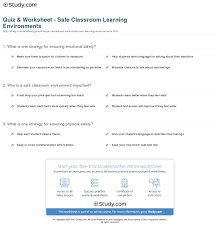 quiz u0026 worksheet safe classroom learning environments study com
