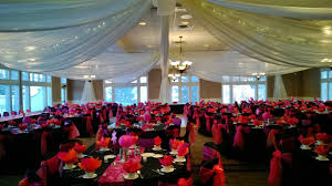 Pink Chair Covers Black Table Linens With Pink Organza Runners Black Chair