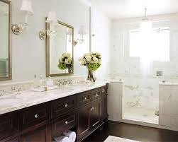 Farmhouse Inspiration Calcutta Marble Marble Showers And Shower - Dark wood bathroom cabinets