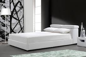 Lift And Storage Beds Logan White Leather Bed W Storage