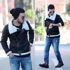 mens motorcycle style boots faissal yartaa tinydeal motorcycle style fleece collar faux