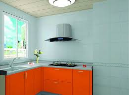 wonderful light blue kitchen walls with orange cabinet and light