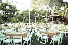 Elegant Backyard Wedding Reception by Lanterns Elegant Round Tables And Simple White Chairs Set The