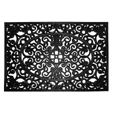 Cast Iron Doormat Shop Allen Roth Black Rectangular Door Mat Common 2 Ft X 3 Ft