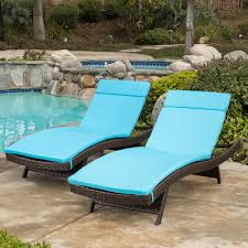 Wooden Chaise Lounge Chairs Outdoor Blue Cushion Pads Waterproof For Outdoor Patio Chaise Lounge