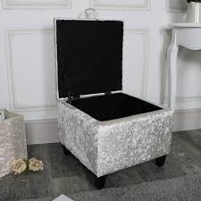 pearl white crushed velvet storage stool pouffe melody maison