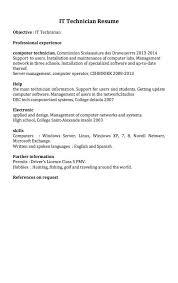 network technician resume network technician resume example