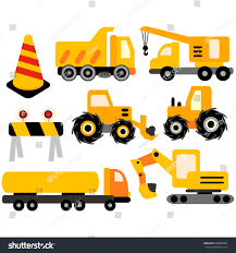 construction trucks collection yellow black stock vector 209349961