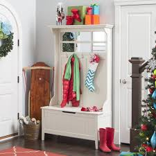 hall tree with storage bench mirror coat rack white for entryway