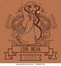 doodle indian lovely doodle indian banner travel stock vector 225203065
