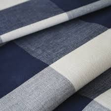a classic navy blue buffalo check fabric with a warm natural
