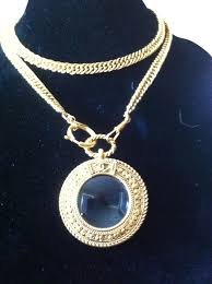 tone necklace images Chanel gold iconic gold tone magnifying glass loupe pendant jpg