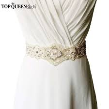 wedding dress sashes topqueen women s s220 rhinestones pearls wedding evening dress