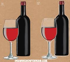 how to draw a bottle and glasses of wine drawing tutorial how to