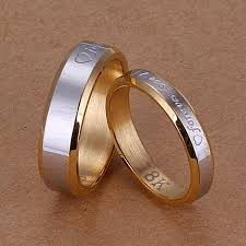 buy metal rings images Valentines stainless steel gold forever love couple rings wedding jpg