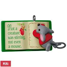 mouse with book a creature was stirring mini ornament keepsake