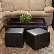 Leather Storage Ottoman With Tray 3pcs Brown Leather Storage Ottoman Tray Top Coffee Table U0026 Nested